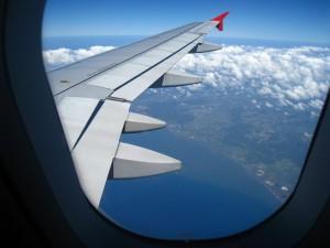 pohlad na Bali z lietadla